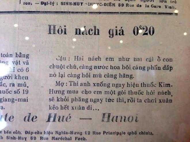 """Giới thiệu """"sốc"""" của nhà thuốc Kim Hưng về sản phẩm thuốc trị hôi nách. Tuy nhiên, kiểu quảng cáo này được đánh giá là tạo ra sự gần gũi, thu hút khách hàng."""