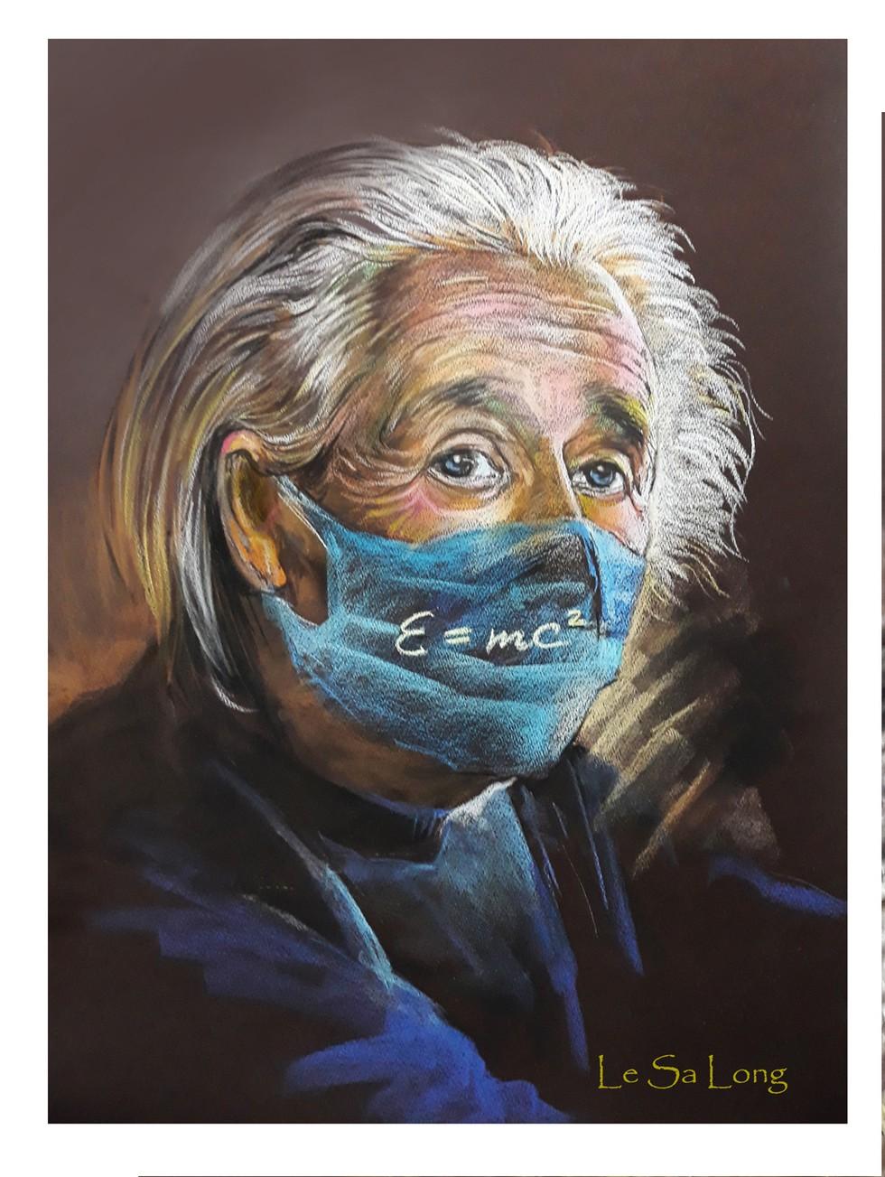 Tranh vẽ nhà vật lý Albert Einstein (ẢNH: NVCC)