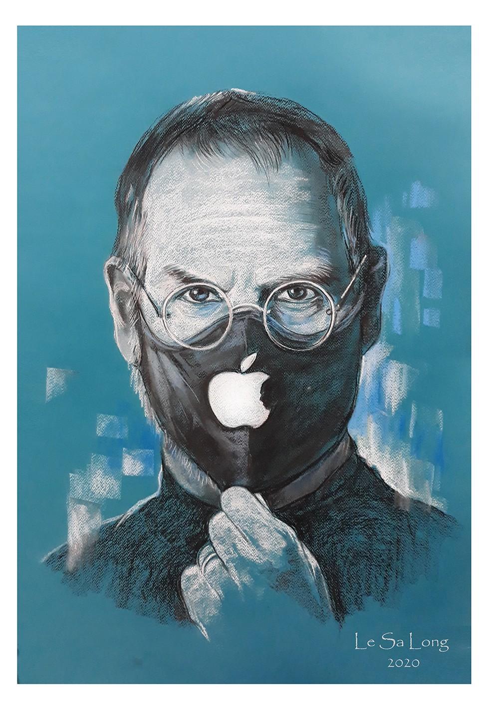 Tranh vẽ doanh nhân Steve Jobs - người truyền cảm hứng cho nhiều nhà thiết kế thế giới (ẢNH: NVCC)