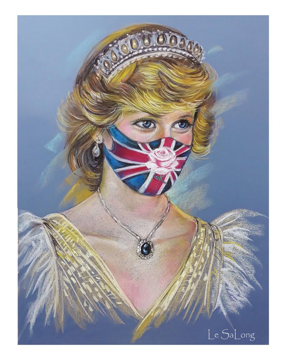 """Tranh vẽ công nương Diana - được mệnh danh là """"đóa hồng nước Anh"""" (ẢNH: NVCC)"""