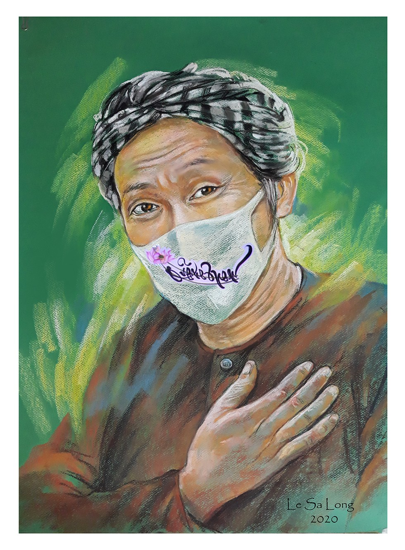 Tranh vẽ nghệ sĩ Hoài Linh với chiếc khẩu trang thêu chữ Quảng Nam và hình hoa sen (ẢNH: NVCC)